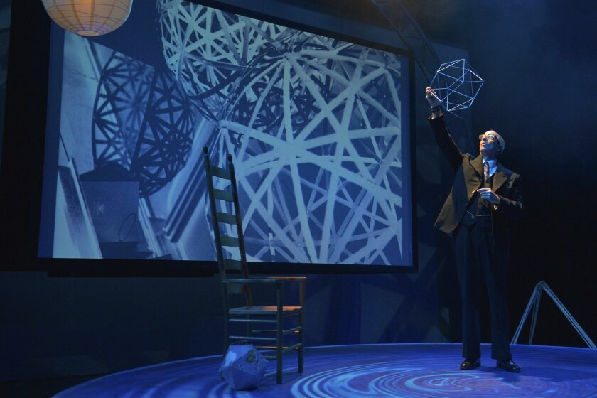 """Ron Campbell plays the title role in San Diego Rep's """"R. Buckminster Fuller: The History (and Mystery) of the Universe."""""""
