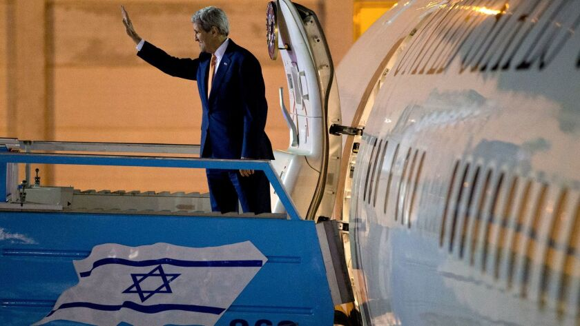 In this Nov. 24, 2015, photo, U.S. Secretary of State John F. Kerry departs Israel after meetings in Jerusalem and the West Bank city of Ramallah.