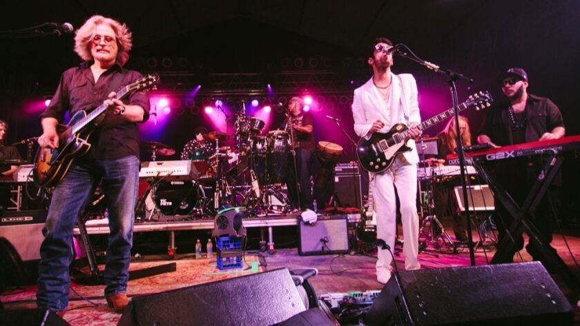 From left: Daryl Hall with David Macklovitch and Patrick Gemayel of Chromeo at the Bonnaroo Music Fe