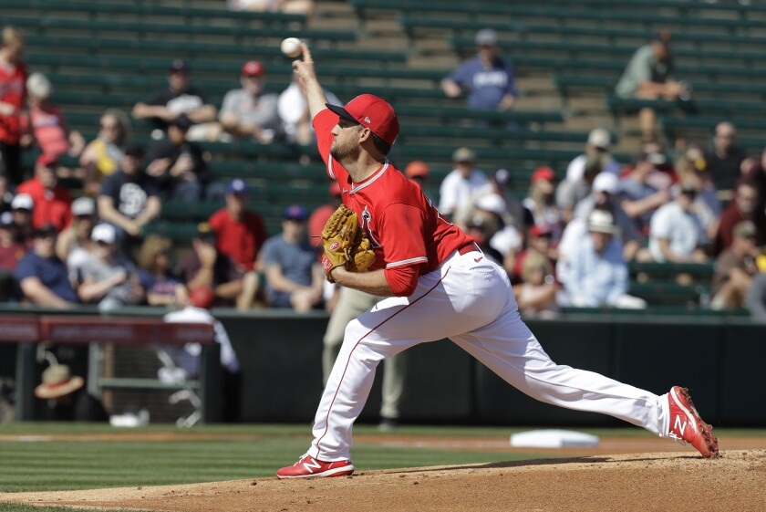 Angels pitcher Matt Andriese impressed manager Joe Maddon during his spring training start against the Milwaukee Brewers on Sunday.