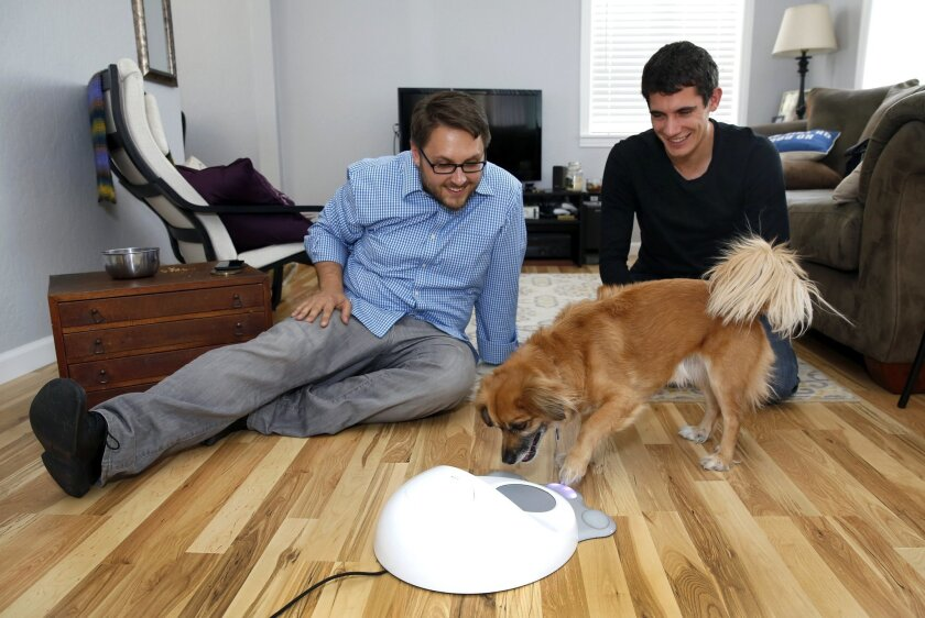 Dan Knudsen, left, and Leo Trottier founded CleverPet, which makes a networked game device to keep dogs occupied when their owners are away.