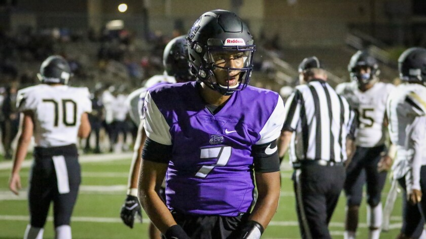 Rancho Cucamonga quarterback CJ Stroud celebrates after scoring a touchdown against Calabasas on Aug. 29, 2019.