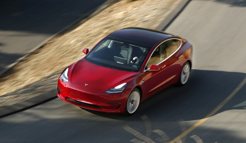 LOS ANGELES, CA-JANUARY 12, 2018: Tesla's new Model 3 is taken for a test drive in Elysian Park on