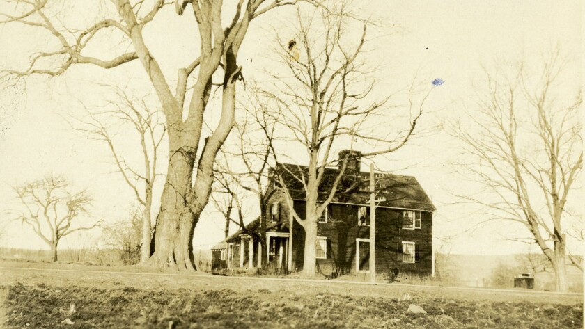 A historical photograph of the outside of the Noah Webster House, circa 1912. Credit: Fred Hamilton