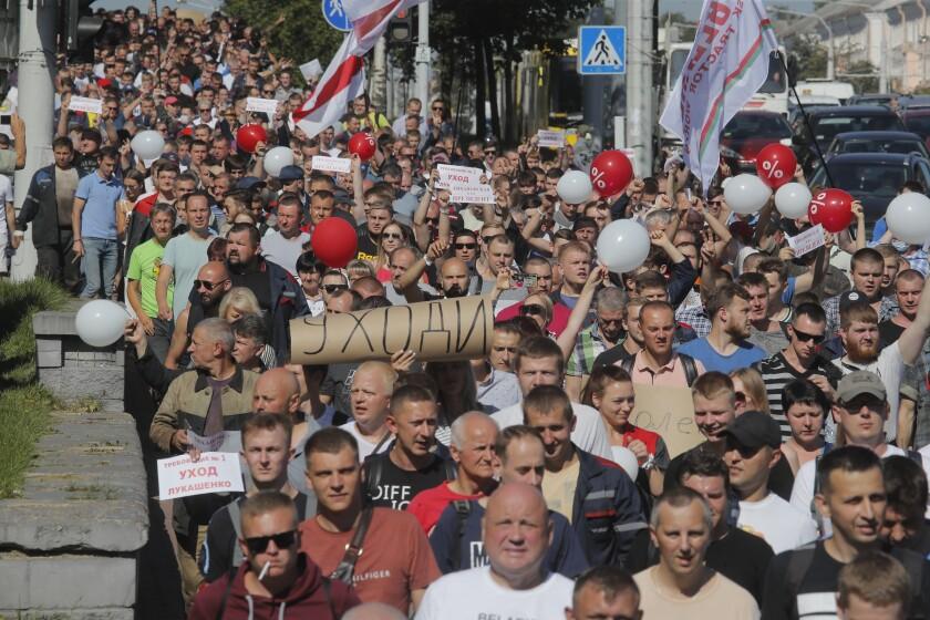 Workers protest against Belarusian President Alexander Lukashenko