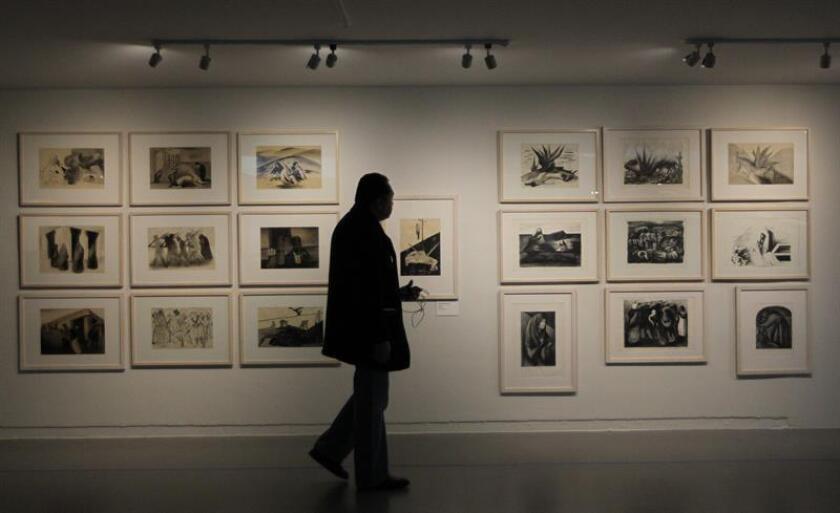 """Vista general de la muestra """"Orozco, Rivera, Siqueiros. La exposición pendiente"""", inaugurada hoy, el Museo de Arte Carrillo Gil, en Ciudad de México. EFE"""