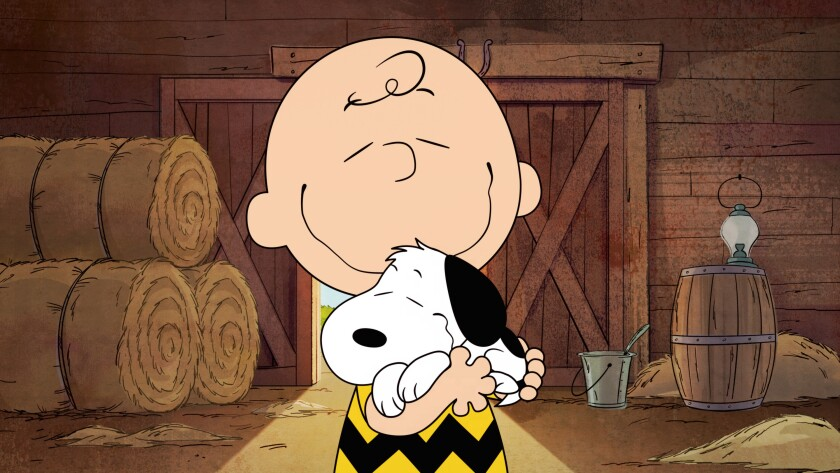 """This image released by Apple shows animated characters Snoopy and Charlie Brown from the original series """"The Snoopy Show,"""" premiering Feb. 5 on Apple TV+. (Apple via AP)"""