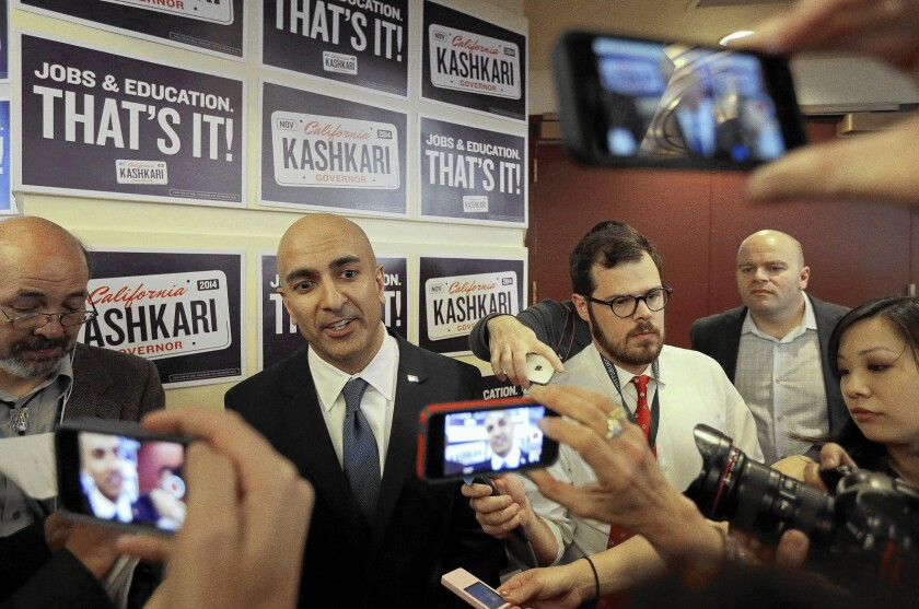 Republican gubernatorial candidate Neel Kashkari speaks with reporters in March; polls showing Gov. Jerry Brown about 20 points ahead of Kashkari could fuel public apathy at election time.