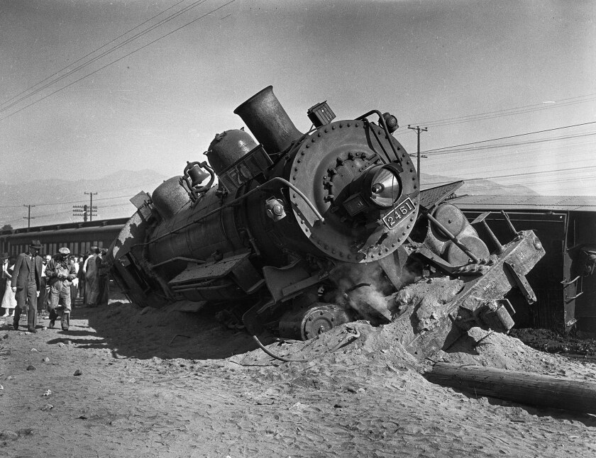 Oct. 19, 1935: A Southern Pacific locomotive is derailed after a crash with a seven-ton sand truck in Glendale.