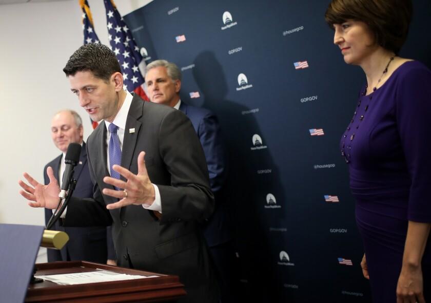 House Speaker Paul Ryan Speaks To Media After House GOP Conference Meeting