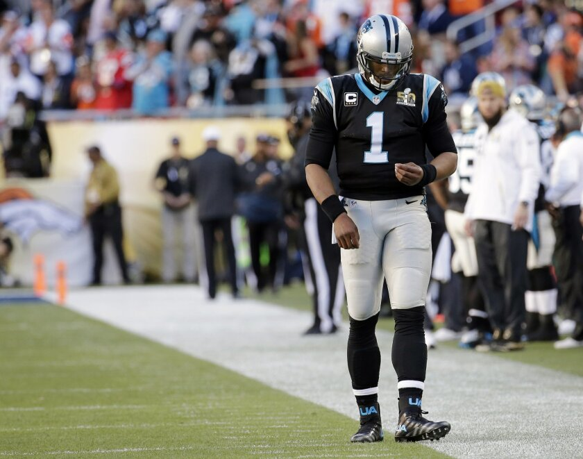 Carolina Panthers' Cam Newton (1) walks off the field during the first half of the NFL Super Bowl 50 football game Sunday, Feb. 7, 2016, in Santa Clara, Calif. (AP Photo/Matt York)