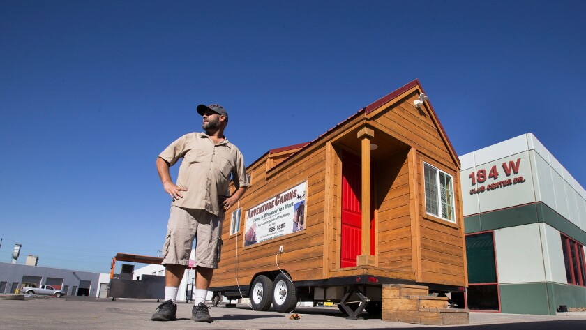 Travis Saenz of Adventure Cabins, a San Bernardino company that makes tiny homes, has had trouble selling the dwellings because of zoning restrictions.