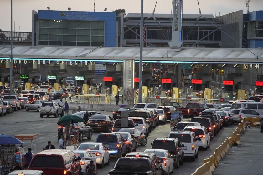 Traffic into San Ysidro from Tijuana is backed up.