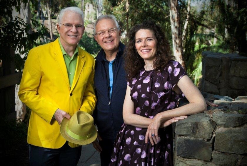 "Steve Martin and Edie Brickell with ""Bright Star"" director Walter Bobbie, photographed during the musical's rehearsals at the Old Globe in 2014."