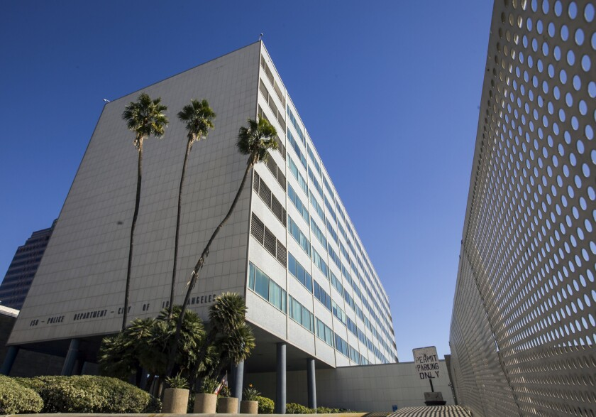 The Parker Center, the iconic building that housed Los Angeles police operations for nearly 60 years, before an official ceremony closing its doors on Jan. 15, 2013.
