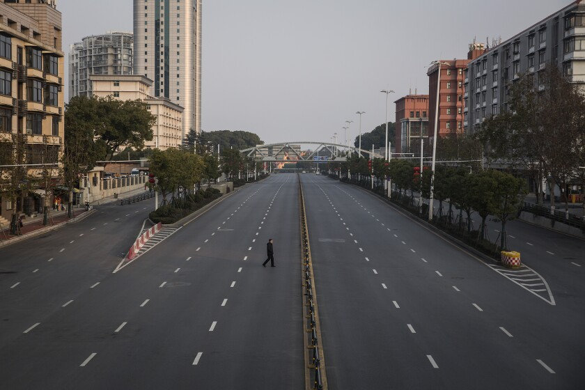 A nearly empty street in Wuhan