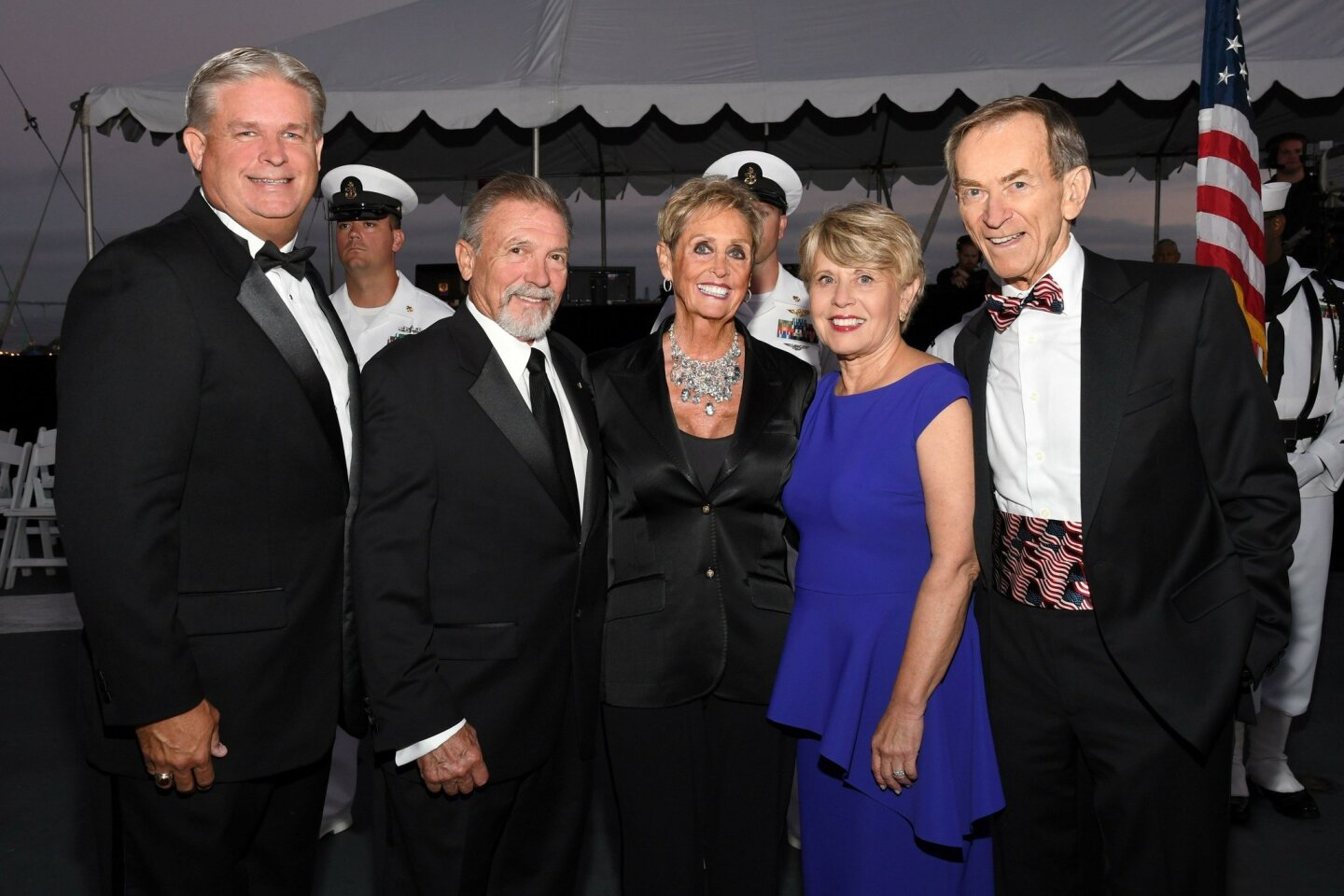 Daniel Beintema (Midway Foundation president), Phil and event chair Connie Conard, Ronne Froman Blue (Rear Admiral, USN, Ret.) and Linden Blue