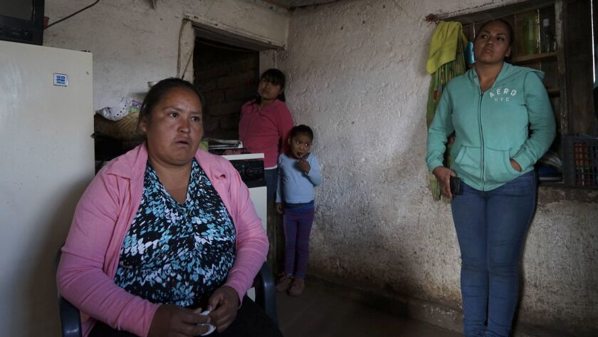 Maximina Carrillo Torres, 40, left, sister-in-law of slain activist Isidro Baldenegro Lopez, said that after his death relatives and friends fled their hometown of Coloradas de la Virgen.