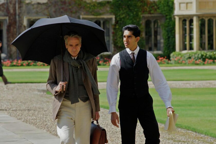 """Jeremy Irons (left) and Dev Patel in """"The Man Who Knew Infinity."""""""