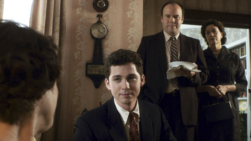 "Logan Lerman as Marcus, with Danny Burstein and Linda Emond as Esther in ""Indignation."""