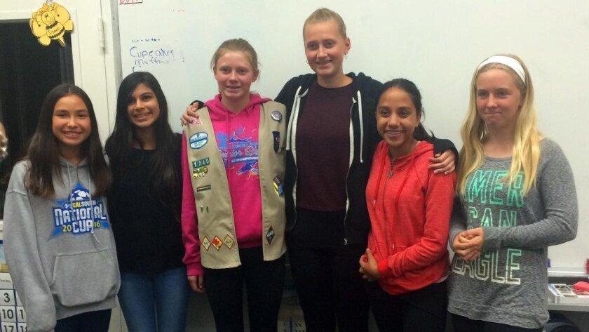 Girl Scout Troop 1240 members Talia Nakata, Samaya Patel, Cami Collins, Laura Holmes, Riya Madan, Olivia Gildersleeve.