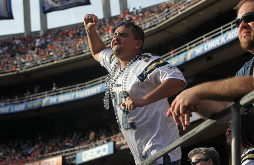 Jairo Esparza of San Diego shows his passion during the Chargers loss to the Broncos.