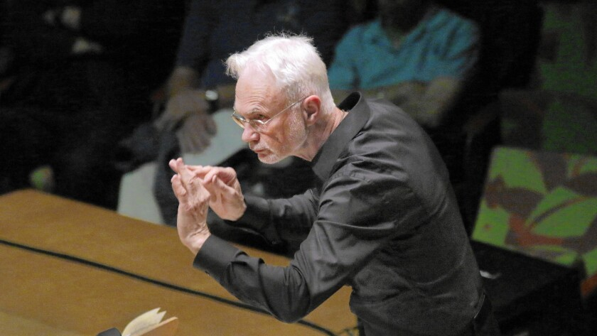 """John Adams conducting the L.A. Phil New Music Group in Dylan Mattingly's """"Seasickness and Being (in Love)"""" at Walt Disney Concert Hall on Tuesday."""