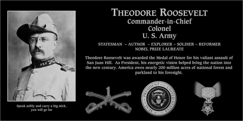 On 2016 Memorial Day, May 30, the Mt. Soledad National Veterans Memorial will honor former U.S. President Theodore Roosevelt with the installation of a plaque at the Veterans Memorial Walls. In attendance will be Captain Craig Clapperton, commanding officer of the USS Roosevelt nuclear aircraft car