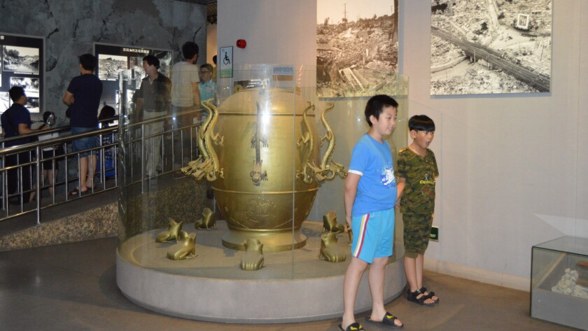 An ancient seismoscope at the Tangshan Earthquake Museum in Tangshan, China