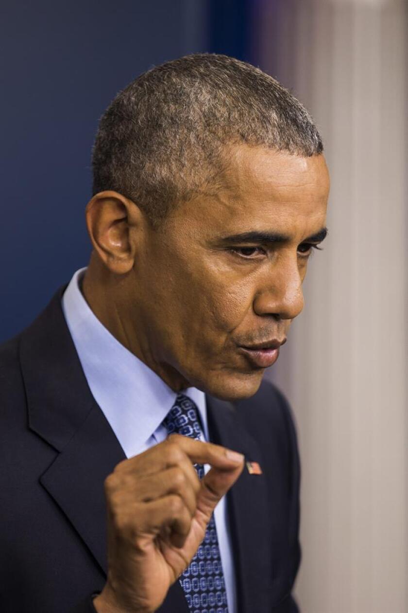El presidente de EE.UU. Barack Obama habla durante su última conferencia de prensa hoy, miércoles 18 de enero de 2017, en la Casa Blanca en Washington (EE.UU.). EFE
