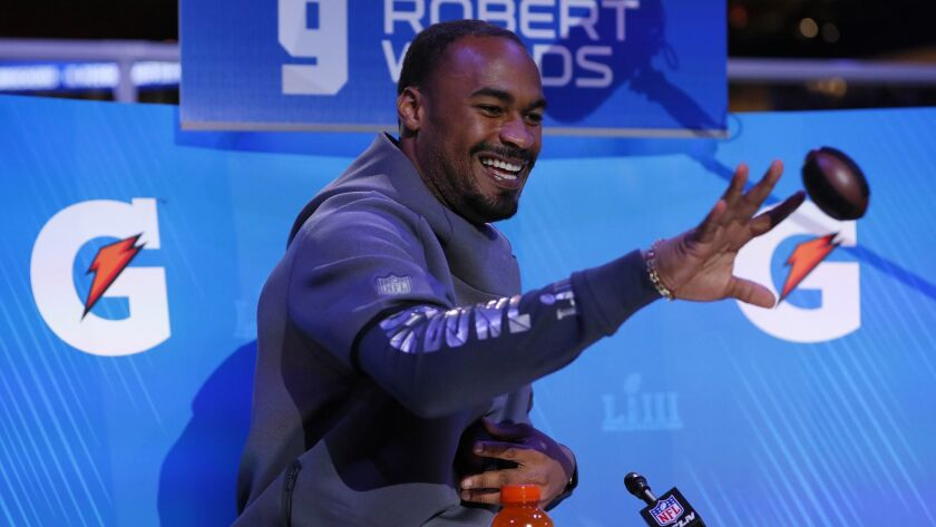 Rams wide receiver Robert Woods takes part in Super Bowl LIII opening night in Atlanta on Monday.
