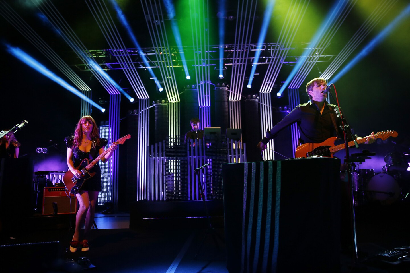 The Postal Service, with vocalist Ben Gibbard (of Death Cab for Cutie) and Jenny Lewis (of Rilo Kiley) perform at the Greek Theatre.