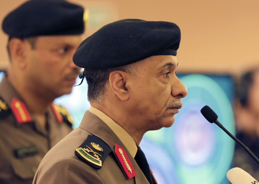 Saudi Interior Ministry spokesman Maj. Gen. Mansour Turki holds a news conference in Riyadh on Friday.