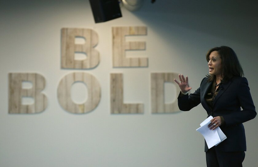 State Atty. Gen. Kamala Harris delivers a keynote address during a Safer Internet Day event at Facebook headquarters in Menlo Park, Calif., on Feb. 10. Harris is the only major party candidate to announce she's running for the U.S. Senate seat being vacated by Barbara Boxer in 2016.