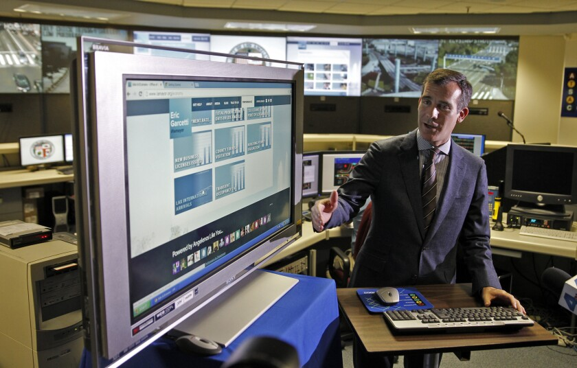 Los Angeles Mayor Eric Garcetti rolled out his first effort at posting online city information in October.