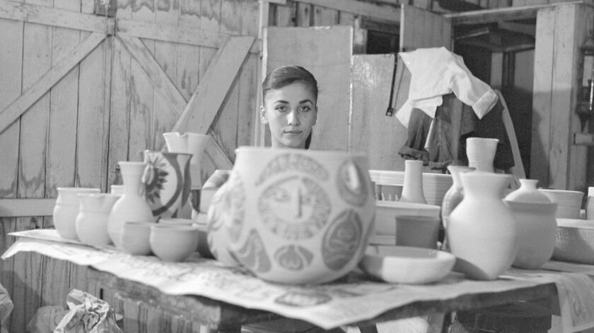 Ceramic artist Dora De Larios in her first studio in Venice in late 1950s. CREDIT: Bernard Judge