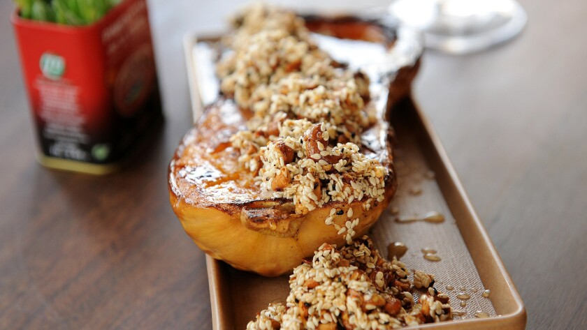 Roasted butternut squash with dukkah from Bar Moruno at Grand Central Market.