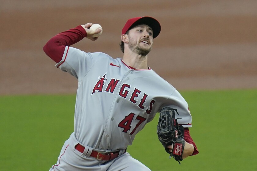 Angels pitcher Griffin Canning pitches against the San Diego Padres on Sept. 22, 2020.