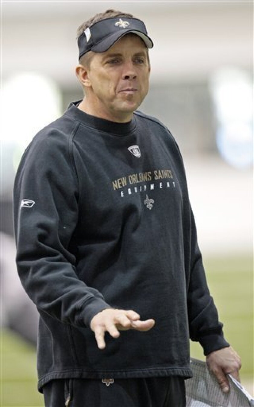 New Orleans Saints coach Sean Payton talks to his team at the start of an NFL football practice at the club's training facility in Metairie, La., on Thursday, Jan. 28, 2010. The Saints play the Indianapolis Colts in Super Bowl XLIV on, Sunday, Feb. 7, in Miami. (AP Photo/Bill Haber)