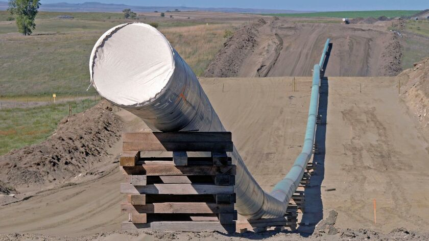 A section of the Dakota Access Pipeline is seen under construction near the town of St. Anthony in Morton County, N.D., on Sept. 29.