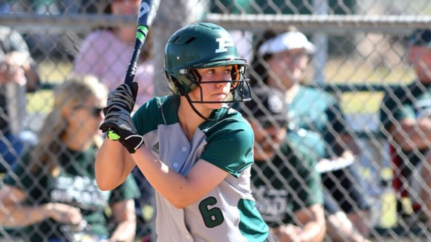 Poway High's Sophia Real has made all-league honors in both softball and basketball.