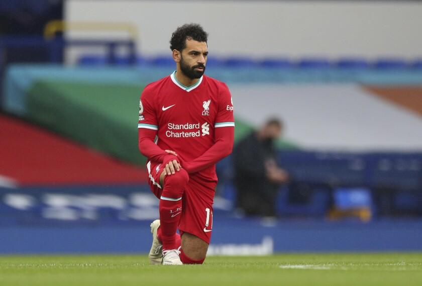 En esta foto del 17 de octubre de 2020, Mohamed Salah de Liverpool