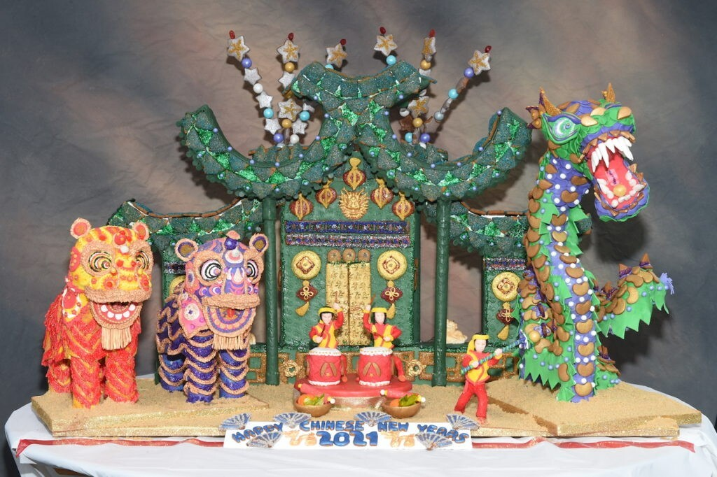 """Jackie Shih's gingerbread creation """"Sizzle and Roars"""" won first place in the Gingerbread City competition."""