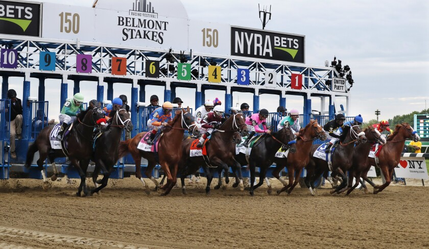The start of the 2018 Belmont Stakes.