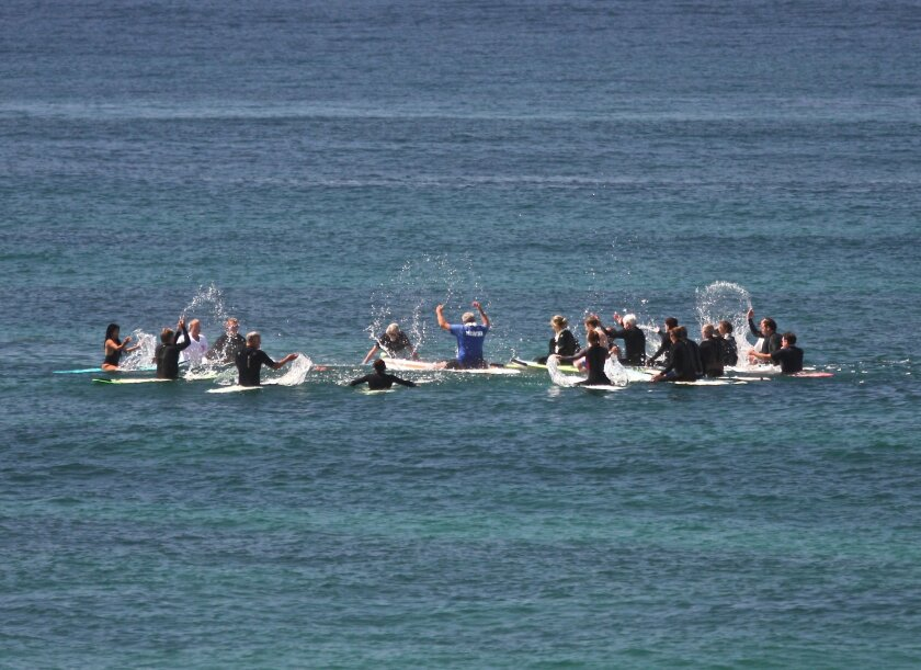 Paddle out in tribute to Buzzy Bent.