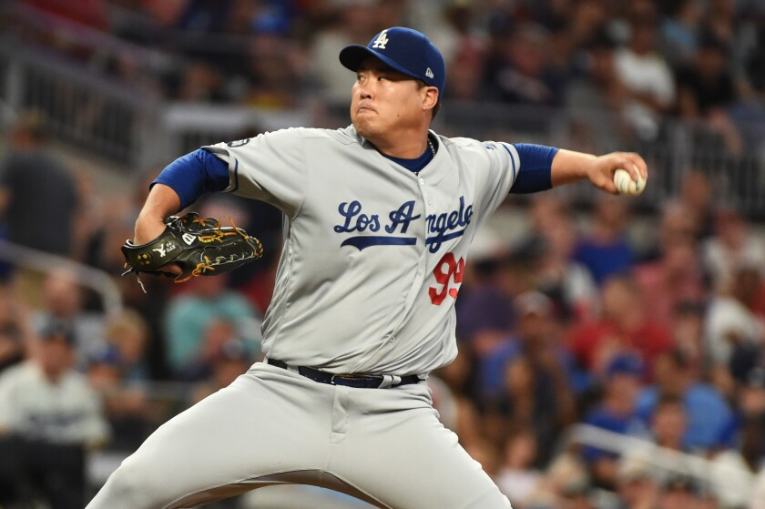 Dodgers left-hander Hyun-Jin Ryu allowed four runs in 5 2/3 innings Saturday.