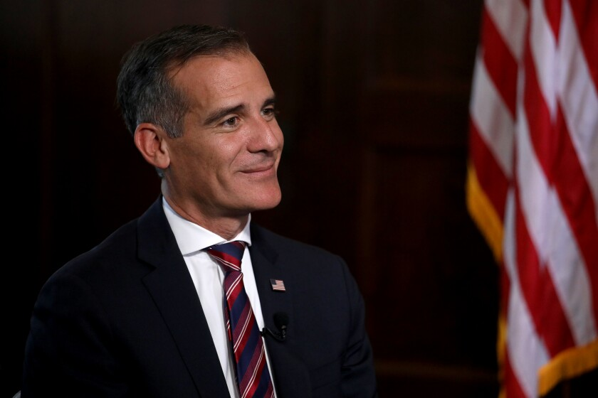 LOS ANGELES, CA - JULY 09: Los Angeles Mayor Eric Garcetti holds interviews with the media after President Joe Biden selected him as his nomination for U.S. Ambassador to India, pending Senate confirmation, at City Hall on Friday, July 9, 2021 in Los Angeles, CA. (Gary Coronado / Los Angeles Times)