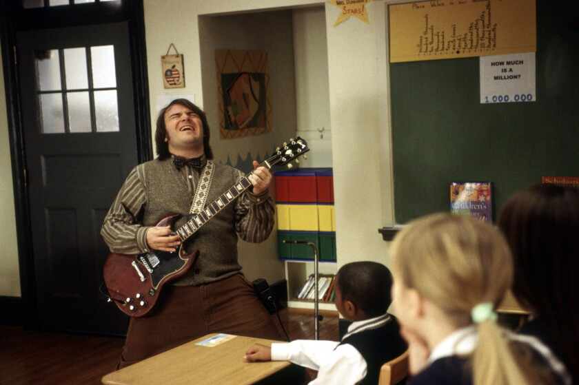 "Jack Black in a scene from the 2003 movie ""School of Rock,"" directed by Richard Linklater."