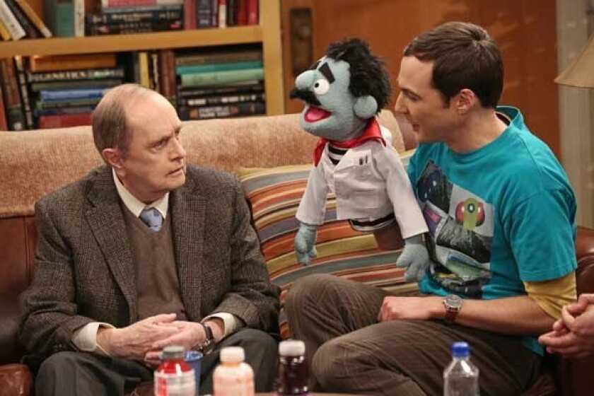 """Bob Newhart guest stars on """"The Big Bang Theory."""" With Jim Parsons, right."""