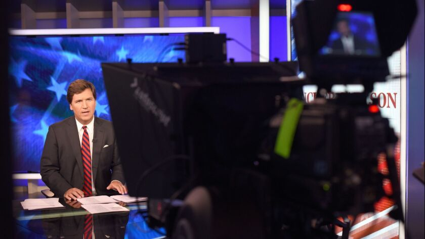 Tucker Carlson on the set of his show on FOX News in Manhattan, NY on Oct. 1.